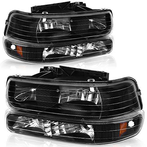 OEDRO Headlight Assembly Compatible with 1999-2002 Chevy Silverado / 2000-2006 Suburban 1500 2500/ 00-06 Chevrolet Tahoe