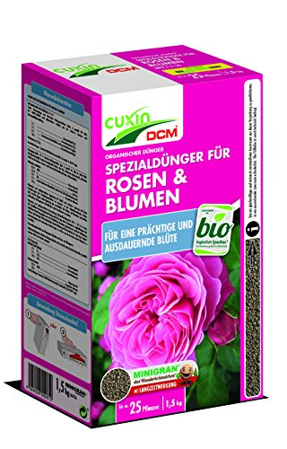 Cuxin BIO Rosendünger mit 3 Monaten Langzeitwirkung | auch für alle Blumen und Clematis | rein organischer Naturdünger |1,5kg | NPK 7-7-10