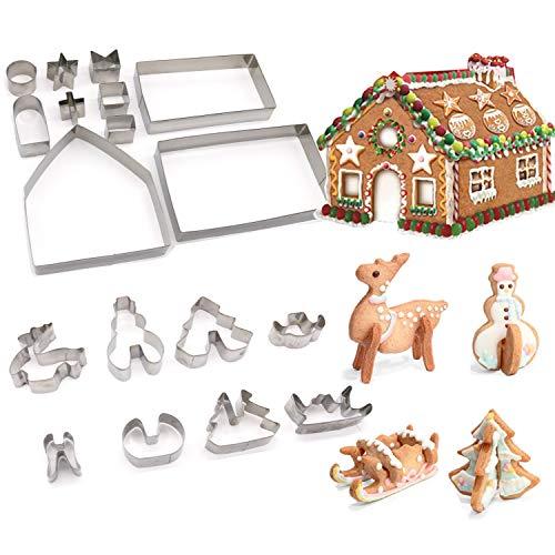 JiangLin 18 Stück 3D Weihnachten Ausstechformen, Ausstechform Weihnachten Set Edelstahl Ausstecher Set für Keks