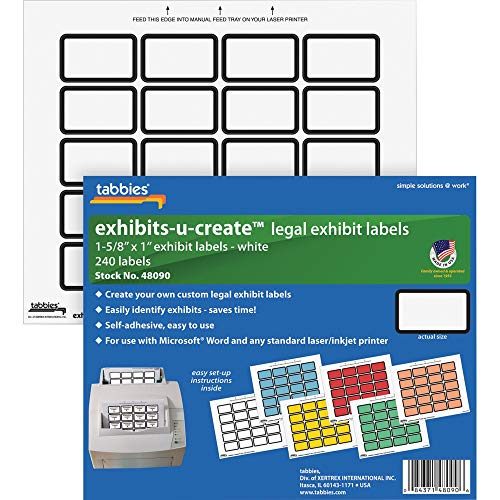 Price comparison product image Tabbies 48090 Custom Labels,  1-5 / 8-Inch x1-Inch,  240 / Sheet,  240 / PK,  White