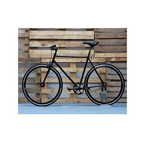 Desconocido Bicicleta fixie negra con detalles