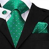 CDYEGSJ Uomini Cravatta in Seta Verde Prato Legami Floreale Cravatta Fiore all'occhiello del Fazzoletto Gemelli Wedding Set Foulard for Groom 8,5 Cm (Color : SN 3196)