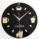 LIU-Kreative Wanduhr Mode Startseite Persönliche Karte Liebe Cartoon Schwarz Mute Coffee Clock