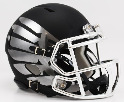Oregon Ducks Titanium Black Eclipse Black Matte Shell and Chrome Wings with Chrome Facemask Riddell Speed Mini Football Helmet