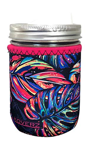 Koverz for Jars - #1 Neoprene Mason Jar Coolie 16 oz Insulator Sleeve - Tropics