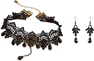 Charm.L Grace Black Lace Gothic Lolita Pendant Choker Necklace Earrings Set