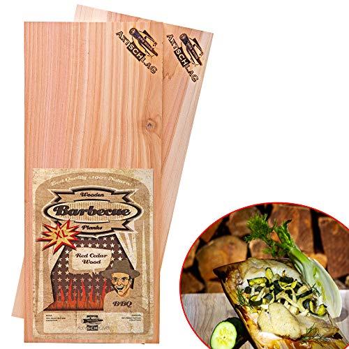 Axtschlag Grillbretter Zeder, 2 Wood Planks für größere Filets & Braten, schonendes Garen mit aromatischer Rauchnote & zum Servieren, für alle Grills, 400x150x11 mm, mehrfach verwendbar