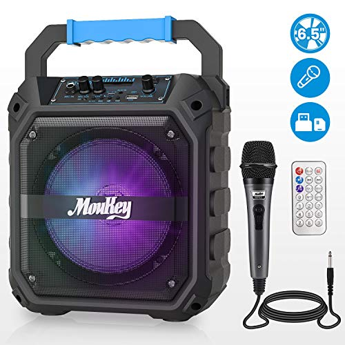Moukey MPS2 tragbare Karaoke, kabellose Karaoke Anlage, Mini Sound System, Karaoke System, PA System Sound Anlage mit FM Radio, Fernbedienung, unterstützt TF-Karte/USB, perfekt für Party 6,5 Zoll