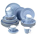 suntun Juegos de Vajillas 30 piezas, Azul Vajillas de Porcelana 6 Platos de Sopa, 6 Platos de Cena, 6 Platos de Postre, 6 Tazas de Café y 6 Platillos Vajillas Completas Vintage para 6 Personas