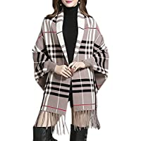 QZUnique Women's Soft Checked Tartan Shawl Cape Cardigan Wrap Poncho with Fringe Trims (Khaki)