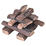 ATR ART TO REAL Gas Fireplace Logs, Large Ceramic Logs for Gas Fireplace, Artificial Realistic Firewood Logs Set of 10, Indoor Outdoor for Fireplace Firepit, Ventless & Vent Free