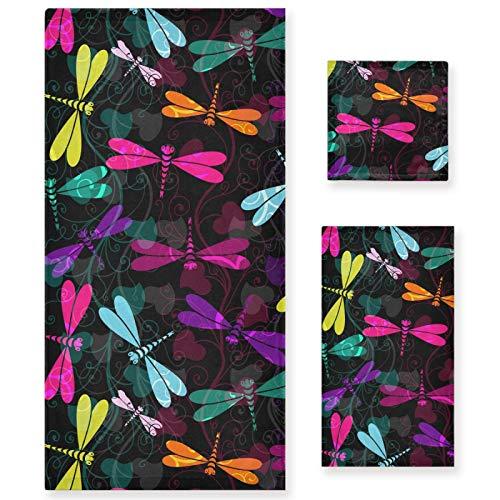 Naanle Juego de 3 toallas de baño con diseño de libélulas, de algodón altamente absorbente, de gran tamaño, toalla de mano+toalla, paquete de 3 toallas de suavidad para decoración