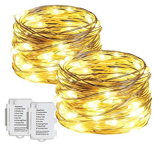Starker 2stk 5M 50er LED Lichterkette, 8 Modi IP65 Wasserdicht Lichterketten,TIMER Batterie Lichterkette,für Innen und Außen dekoration, Hochzeiten und Partys