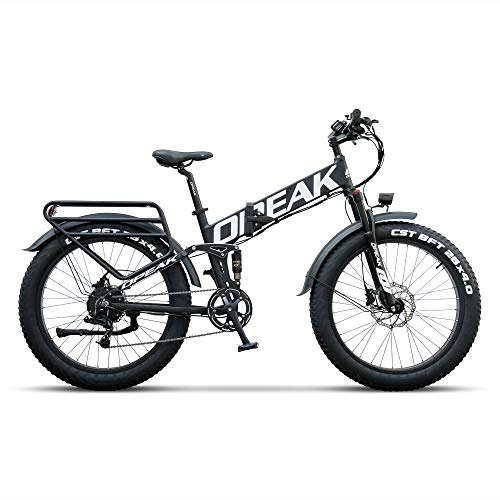 OPEAK Folding Ebike 750W Motor, 26''4.0 Fat Tire Ebikes for Men and Women, 13.6AH Removable Battery, SRAM 8 Speed System, Snow Beach Ebike Commuter Electric Bicycle with Front and Center Suspension
