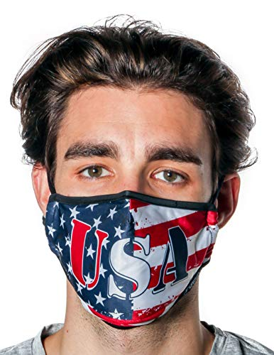 Fydelity-Breathable Face Mask Comfortable Fabric Cover Reusable:USA Flag