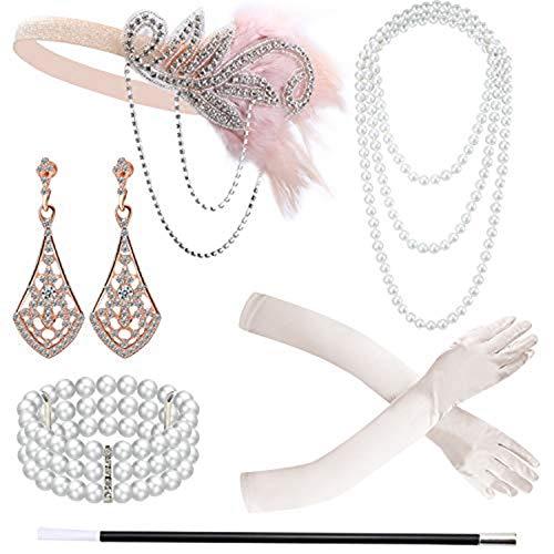 Fransande 6 Pieces 1920S Flapper Accessories Headband Gloves Necklace Flapper Holder Earrings Bracelet Set for Women