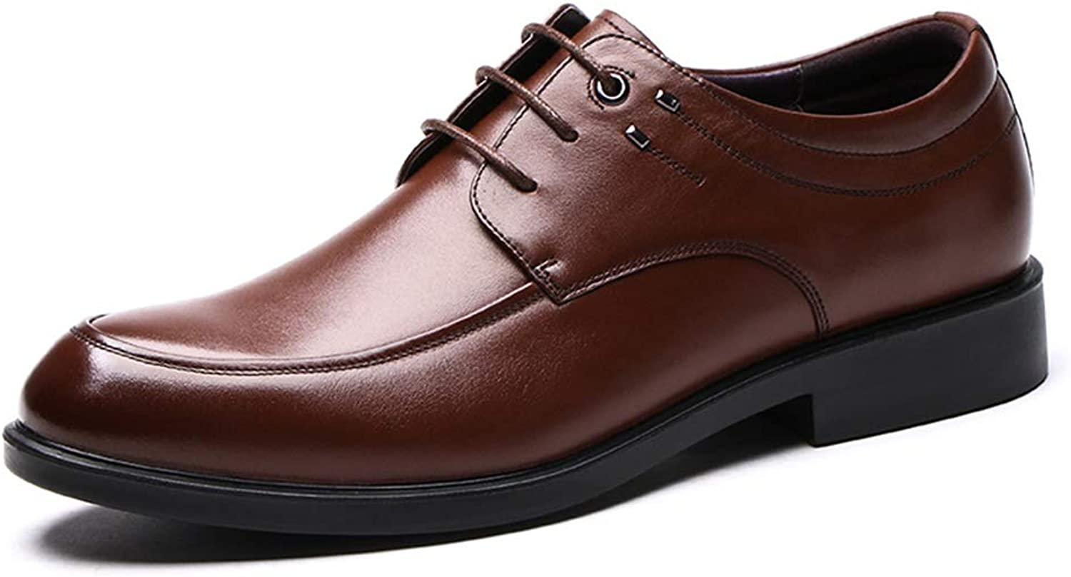 LXLA- Men's Formal Lace Up Business Leather shoes, Mens Casual Pointed Dress Loafers for Men (color   Brown, Size   9.5 US 8.5 UK)