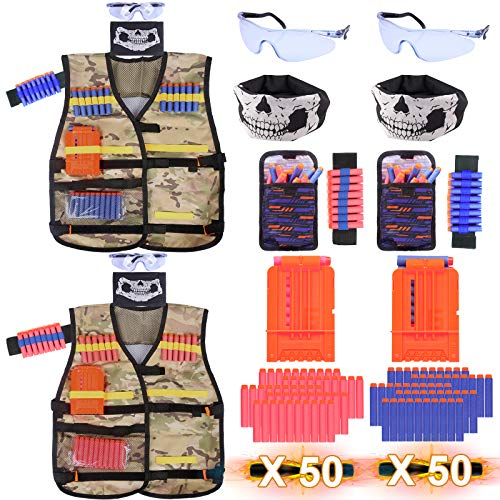 2 Pack Nerf Vest Tactical Kids For Nerf Guns, 5 6 7 8 9 10 11 12 Year Old Boy and Girl Gift, With 100 Bullets, Quick Reload Clip, Bullet Pouches, Bullet Wristband, Protective Goggles, Face Masks