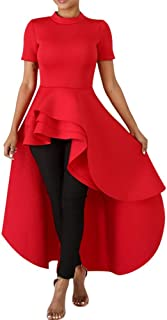 Womens High Low Dress - Fashion Elegant Asymmetrical Irregular Hem Ruffle Peplum Top Tunics Maxi Shirt Dress