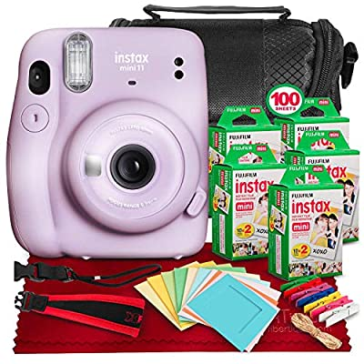 FUJIFILM INSTAX Mini 11 Instant Film Camera (Lilac Purple) + ACCESSORY BUNDLE THAT INCLUDES 5X Fujifilm Instax Mini Twin Film (100 Exposures), Camera Carrying Case, Camera Strap & Funky Film Frames by PS