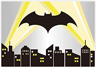 Allenjoy 7x5ft Superhero Cityscape Backdrop Night Buildings Great as Super Hero Bat City Photo Booth Background boy 1st First Birthday Party and Event Banner Decorations Baby Shower Studio Props