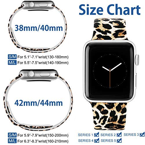 Laffav Compatible with Apple Watch Band 40mm 38mm iWatch Series 5 4 3 2 1 for Women Men, Classic Leopard, S/M 5