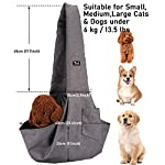 Dog Sling Carrier Small Puppy Cat Pet Carrier Waterproof Outdoor Pet Travel Bag Tote Hands Free, with Adjustable Padded Shoulder Strap, Multiple Pockets, Escape-proof Drawstring Mesh & Collar Hook 14