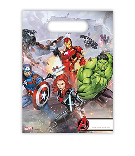 amscan- The Avengers Paquete de 6 bolsas de plástico para caramelos con los Vengadores, Multicolor, Taglia Unica (5PR87969)