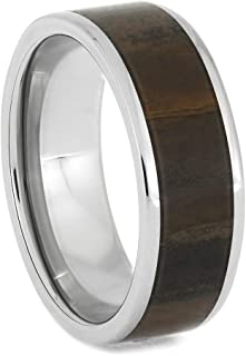 Solid Petrified Wood Ring in Polished Titanium Sleeve, Size 11