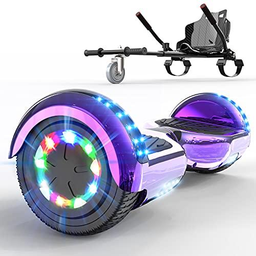 GeekMe Hoverboards mit Sitz,Hoverboards Hoverkart,Go Kart,Hoverboards mit schönen LED-Leuchten, Hoverboards mit Bluetooth-Lautsprecher, Geschenk für Kinder