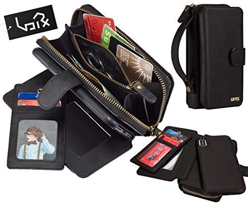 Urvoix voor iPhone Xs Max Hoes, 2 in 1 Premium lederen portemonnee multifunctionele handtas Afneembare Magnetische Cover met Koppeling Rits Flip Card Houder voor iPhone Xs Max(6.5-inch scherm), Portemonneehouder, Zwart