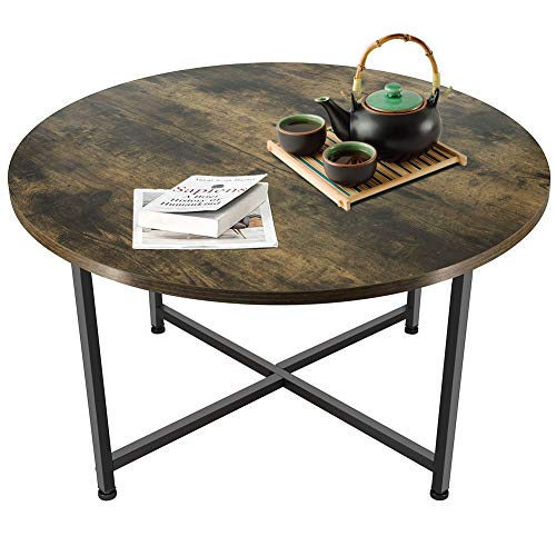 Macallen Rotonda Tavolino da caffè in Stile Industriale Resistente Telaio in Metallo Scrivania in Legno retrò per Ufficio Balcone Soggiorno, 80 x 40,7 Centimetri