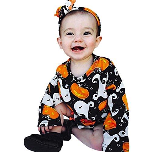 Bébé Ensemble de Vêtements,LMMVP Infantile Bébé Fille Maillot de Citrouille+Halloween Bandeau 2pcs (90(12-18M), Noir)