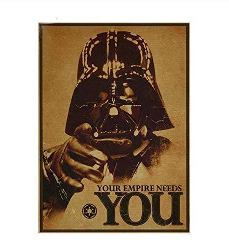 Póster Vintage Movie Star Wars Darth Vader Luke Jedi Posters Pintura Bar Arte de la pared Retro Papel Kraft Pegatinas de pared 40 × 60 sin marco