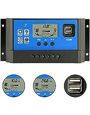 PWM 40Aソーラー充電コントローラ、12V / 24V自動デュアルUSBポート、LCDディスプレイ付きインテリジェント充電レギュレータ