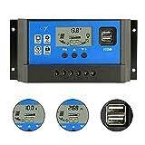 PWM 40A Solar Charge Controller,Intelligent USB Port Display 12V/24V Auto Charge Regulator