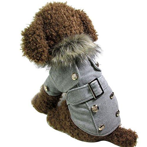 Laine Wodery d'hiver de Style Européen Chaud Chien Costume de Vêtements Manteau de Veste Pardessus, S/M/L/XL