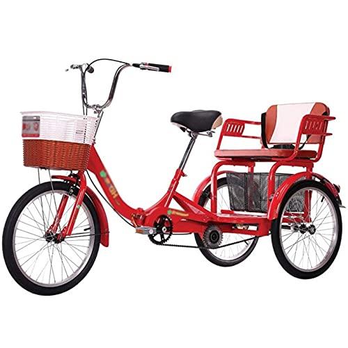 Jlxl 20 Pulgadas Triciclo 3 Ruedas para Adultos con Cesta De La Compra Y Asiento Trasero Marco Acero Alto Carbono Compras Picnic Deportes Al Aire Libre Ciclismo