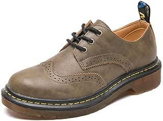 Bonrise Women's Classic Wingtip Oxfords Shoes Vintage Brogues Lace-up Flat Low Heel Retor Dress Oxford Black