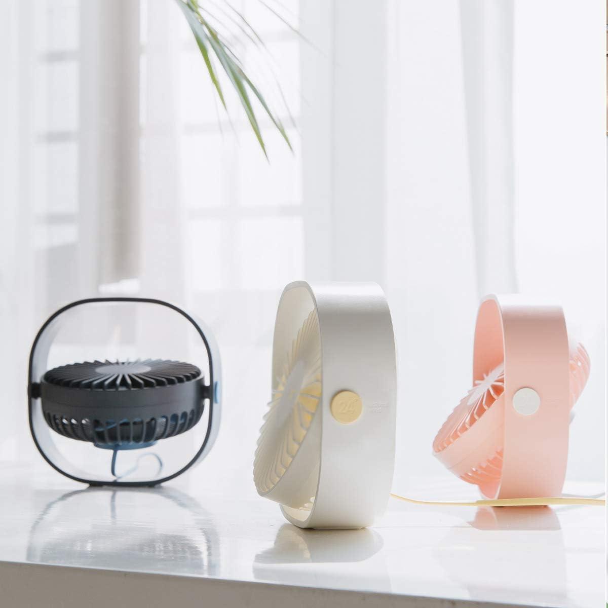 MATEPROX Mini USB Desk Fan,[Snow series]Small Desktop Table Personal Fan with 3 Speed,Quiet Cooling Wind for Office Desktop Room Car Travel (Blue)