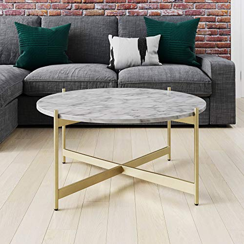Nathan James Piper Faux White Marble Round Modern Living Accent Side or Coffee, Sofa Center Table for Dining Room/Tea with Metal Frame, Gold Brass