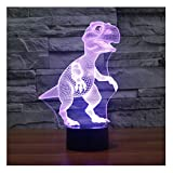 lunaoo Luz Nocturna Infantil, Lampara Escritorio Lampara 3D Dinosaurio LED, Dinosaurios Juguetes 7 Colores Diferentes Luz De Noche Regalos Cumpleaños Niños
