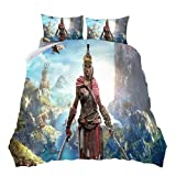 Assassin's Creed - Juego de ropa de cama de 3 piezas de microfibra, 200 x 200 cm, 1 funda de edredón con cremallera y 2 fundas de almohada, suave y agradable