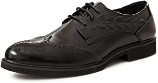 QinMei Zhou Business Oxfords for Men Dress Shoes Lace up Genuine Leather Texture Embossed Pointed Toe Brogue Carving Block Heel Stitched Soft (Color : Black, Size : 6 UK)