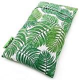 Saco térmico semillas para microondas (30x18cm). Aroma suave a Lavanda. Saquito con funda lavable extraíble. Cojín para dolor cervical lumbar cuello espalda menstrual colicos (Hojas)