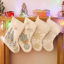 "KAKABUQU 4 Pack White Christmas Stocking, 18"" Large Xmas Stockings Decorations with Embroidery Snow Xmas Family Holiday De..."