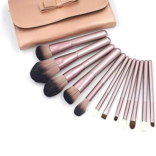 WEHQ Pinceau de Maquillage Set, 12pcs pinceaux Fondation Pinceau de Maquillage pour Le Visage Liquide crème Flawless Poudre de Maquillage cosmétiques avec Le Sac cosmétique