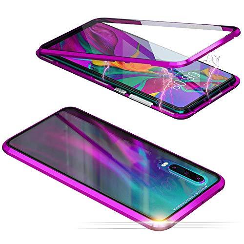 Jonwelsy Cover per Samsung Galaxy A50, Adsorbimento Magnetico Paraurti in Metallo con 360 Gradi Protezione Case Doppi Lati Trasparente Vetro Temperato Flip Custodia per Samsung A50 (Viola)
