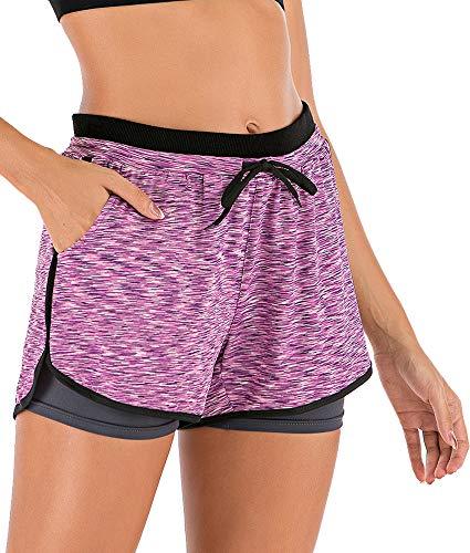 HOMETA Damen 2-in-1 Sport-Shorts Workout Running Shorts Yoga Gym Athletic mit Taschen, Damen, violett, X-Large
