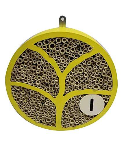 Dehner Natura Insektenhotel Dover, Ø 29 cm, Tiefe 8 cm, Holz/Bambus, gelb